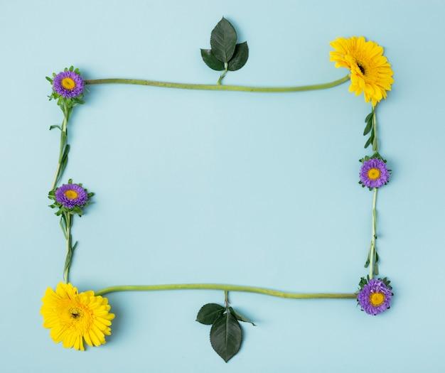Varios tipos de flores y hojas que forman un marco natural.