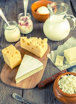 Varios tipos de productos lácteos.