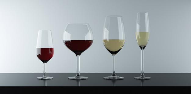 Varios tipos de vasos para beber vino tinto, vino blanco y rosado.