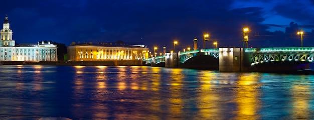 Vasilyevsky isla y el puente del palacio en la noche