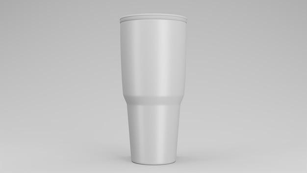 Vaso de acero inoxidable en blanco con tapa
