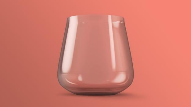 Vaso de agua sobre fondo rosa maqueta representación 3d
