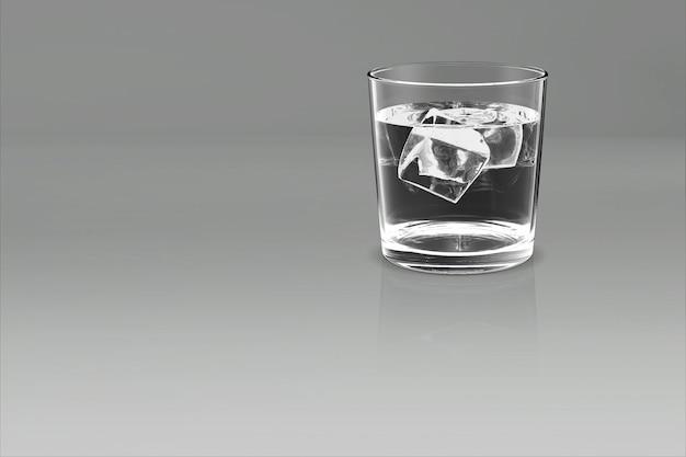 Vaso de whisky whisky bourbon creativo aislado en blanco representación 3d