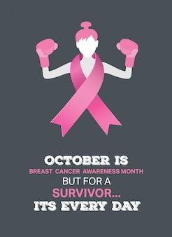 Vector de conciencia de cáncer de mama con chica lucha