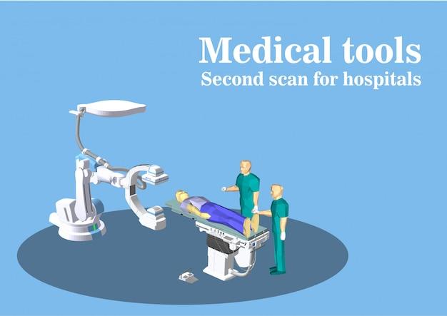 Vector de dispositivos médicos, escáner cerebral