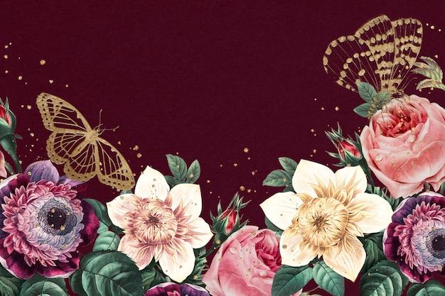 Vector de fondo de primavera con borde de flor floreciente