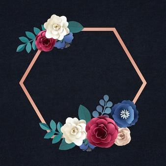 Vector de insignia de flor de artesanía de papel hexagonal