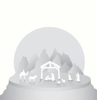 Vector de navidad con escena de natividad