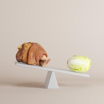 Vegetal inclinar balancín con pierna de cerdo en el extremo opuesto sobre fondo en colores pastel. idea de comida mínima.