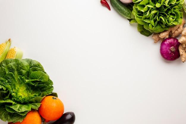Vegetales coloridos sobre fondo blanco con espacio de copia