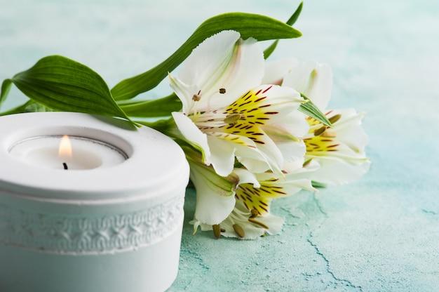 Vela blanca, flores de lirio