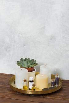Vela encendida planta de cactus; semilla de mostaza; la piedra y aceite esencial en placa de cobre sobre el escritorio de madera.