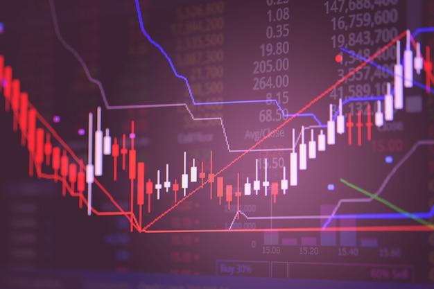 Vela gráfico de palo gráfico de la pantalla del mercado de comercio de bolsa.