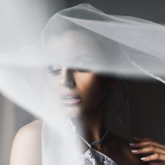 El velo cubre la tierna cara de la novia mientras ella se para ante una ventana.