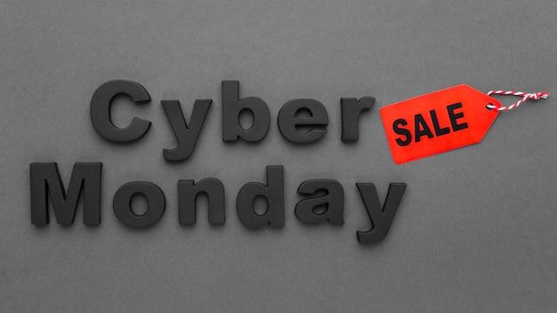 Venta de cyber monday y etiqueta de precio. Foto gratis