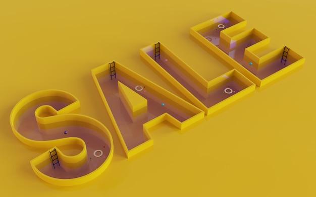 Venta diseño ilustración de fondo promoción de marketing tienda de eventos 3d render con piscina