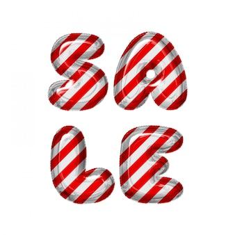 Venta de globos de letras a rayas rojas y blancas sobre blanco