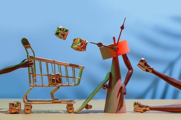 Venta de viernes negro concepto de compras navideñas futuristas tiempo de compras