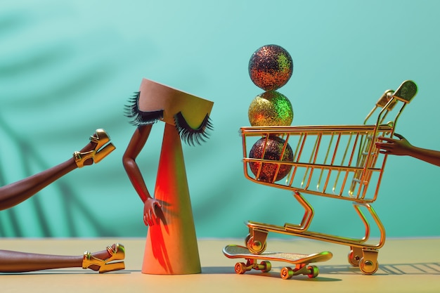 Venta de viernes negro - concepto futurista de compras navideñas, tiempo de compras.