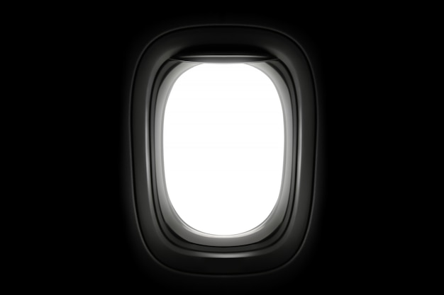Ventana del aeroplano aislada en fondo oscuro.
