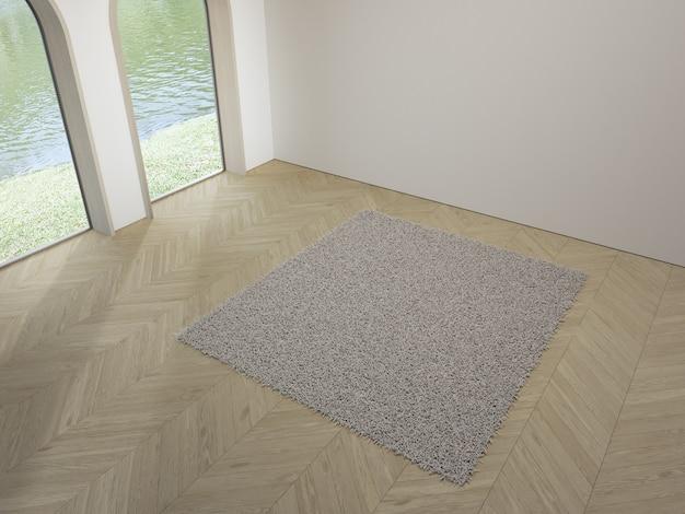 Ventana de arco cerca de la alfombra blanca en el piso de parquet de madera vacío de la luminosa sala de estar en casa moderna
