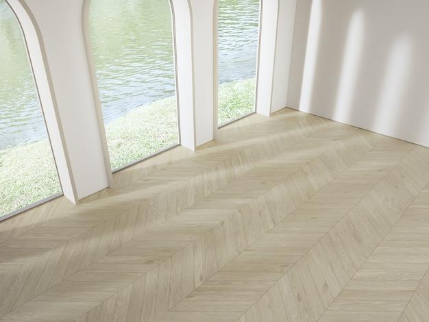 Ventana de arco cerca de la pared de hormigón blanco en el piso de parquet de madera vacía de la luminosa sala de estar