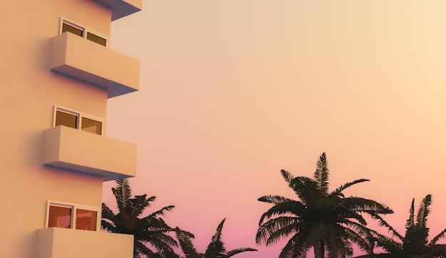 Ventanas de apartamentos con palmeras en una cálida puesta de sol con cielo despejado y espacio para texto. concepto de vacaciones de verano. render 3d