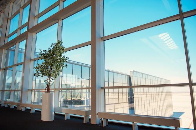 Ventanas de un centro de negocios, dentro de la planta, aeropuerto de donetsk