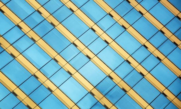 Ventanas de cristal de la oficina moderna con reflejo del cielo