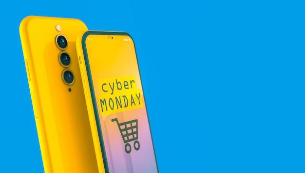 Ventas el lunes cibernético en la pantalla de un teléfono inteligente amarillo