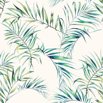 Verano palmera y plátano hojas de patrones sin fisuras. acuarelas ramas verdes sobre fondo claro. diseño de papel tapiz exótico dibujado a mano