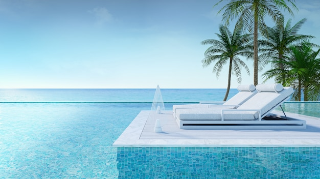 Verano relajante, salón de playa, terraza para tomar el sol y piscina privada con palmeras cerca de la playa y vistas panorámicas al mar en una casa de lujo / representación 3d