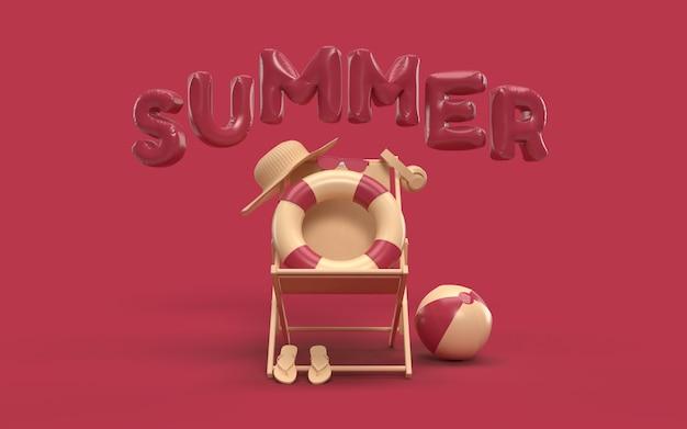 Verano de texto en 3d con elementos, gafas de sol, chanclas, sombrero de playa, pelota, anillo flotante y silla para pancarta de fondo o papel tapiz. diseño creativo del concepto de vacaciones de verano. renderizado 3d