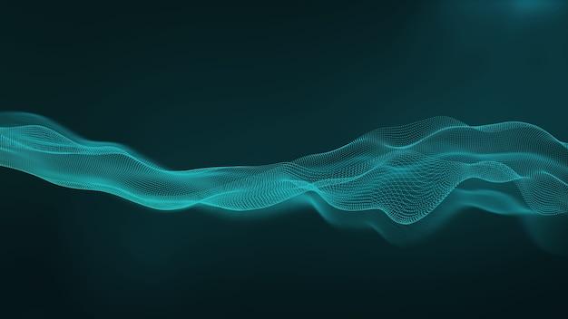 Verde abstracto de la marea de la onda. fondo de tecnología. concepto de red digital profunda. representación 3d.