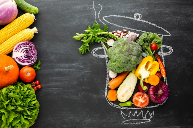 Verduras coloridas en tiza