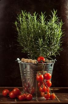 Verduras en cubo de metal