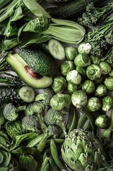 Verduras frescas planas laicos estilo de vida saludable