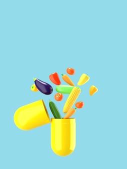 Las verduras frescas salen volando de la píldora. ilustración conceptual de suplementos nutricionales con espacio vacío para el texto. representación 3d