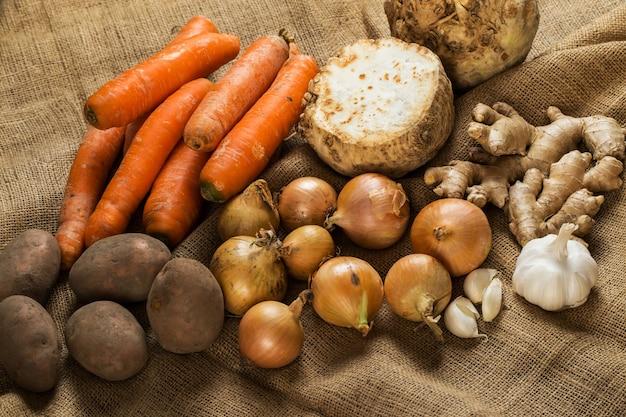 Verduras en manta