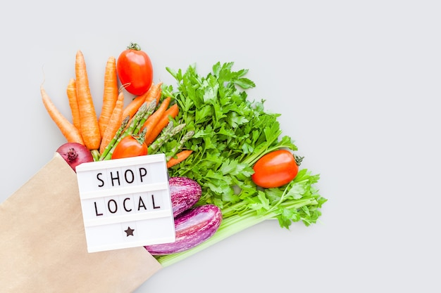 Verduras orgánicas frescas en bolsa de compras artesanales