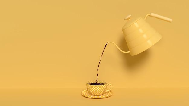 Verter el café negro de la tetera