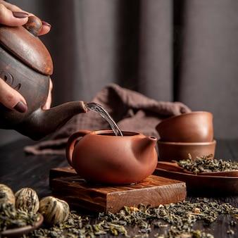 Verter el té en una taza