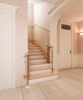 El vestíbulo es de estilo clásico, con suelo de mármol y cuadrados de madera beige en las paredes. plafón empotrado. representación 3d.
