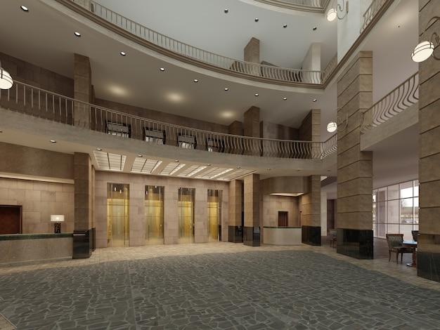 Vestíbulo de lujo con paredes de piedra oscura y pilares con piso. representación 3d.