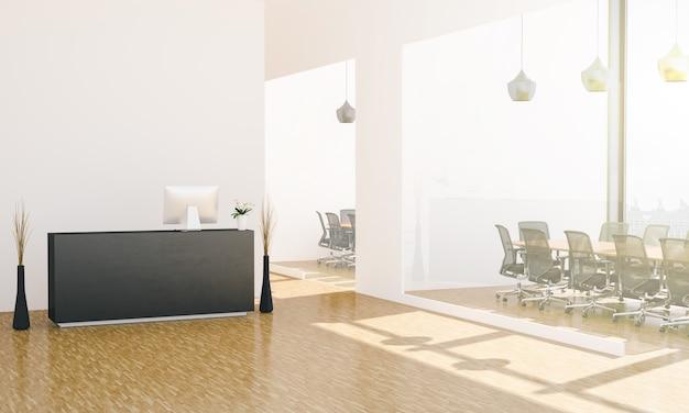 Vestíbulo de oficina con recepción y salas de reuniones.