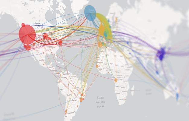 Vía de infección por coronavirus en el mapa mundial. los casos confirmados del mapa covid 19 se reportan en todo el mundo a nivel mundial. actualización de la situación de la enfermedad por coronavirus en todo el mundo. los mapas muestran dónde está el coronavirus