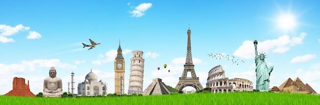Viaja por el mundo concepto de monumentos