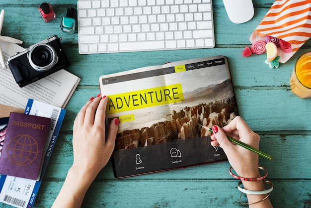 Viaje de aventura destino de viaje senderismo concepto de naturaleza