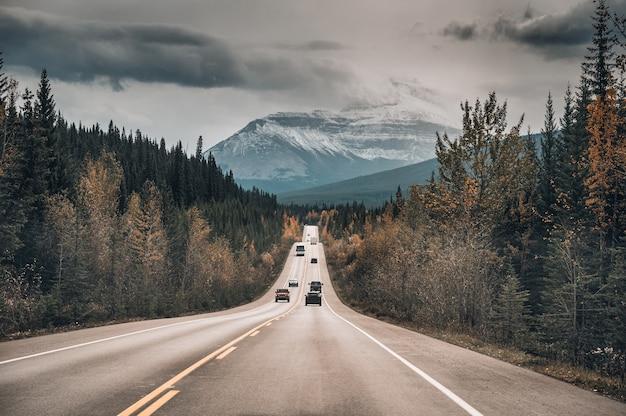 Viaje por carretera de la conducción de automóviles en la carretera en bosque otoñal y montañas rocosas
