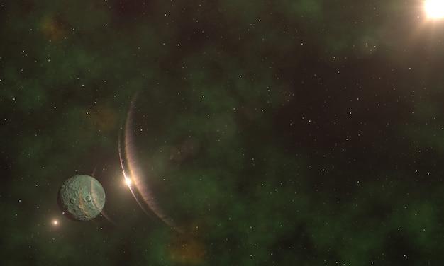 Viaje interestelar a través del espacio estrellado de fondo vista del sistema solar y galaxia efecto nebulosa